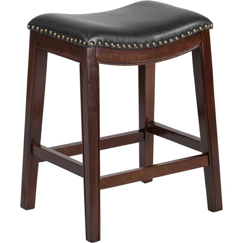 26 39 39 high backless cappuccino wood counter height stool with black leather seat. Black Bedroom Furniture Sets. Home Design Ideas
