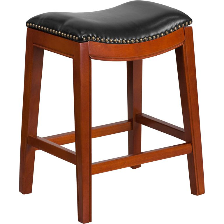 26 39 39 high backless light cherry wood counter height stool with black leather seat. Black Bedroom Furniture Sets. Home Design Ideas