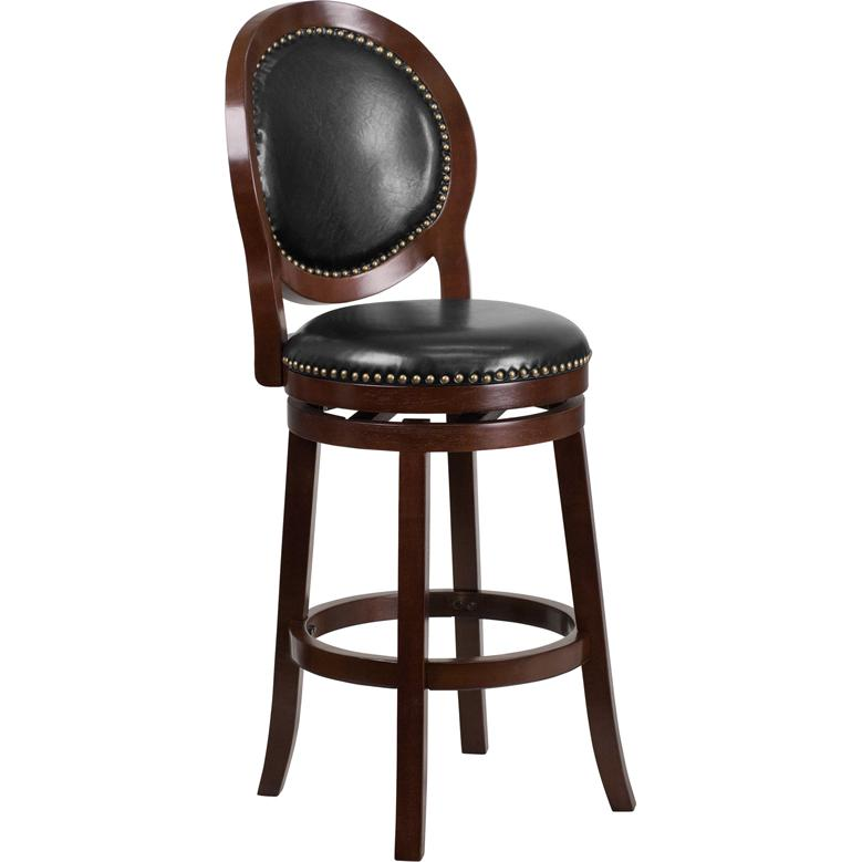 30'' High Cappuccino Wood Barstool with Oval Back and Black LeatherSoft Swivel Seat. Picture 1