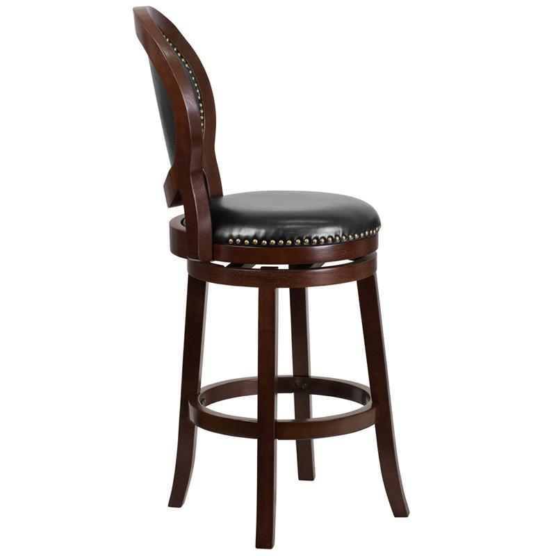 30'' High Cappuccino Wood Barstool with Oval Back and Black LeatherSoft Swivel Seat. Picture 2
