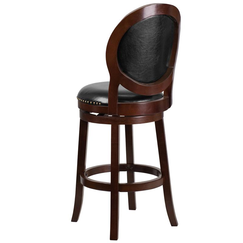 30'' High Cappuccino Wood Barstool with Oval Back and Black LeatherSoft Swivel Seat. Picture 3