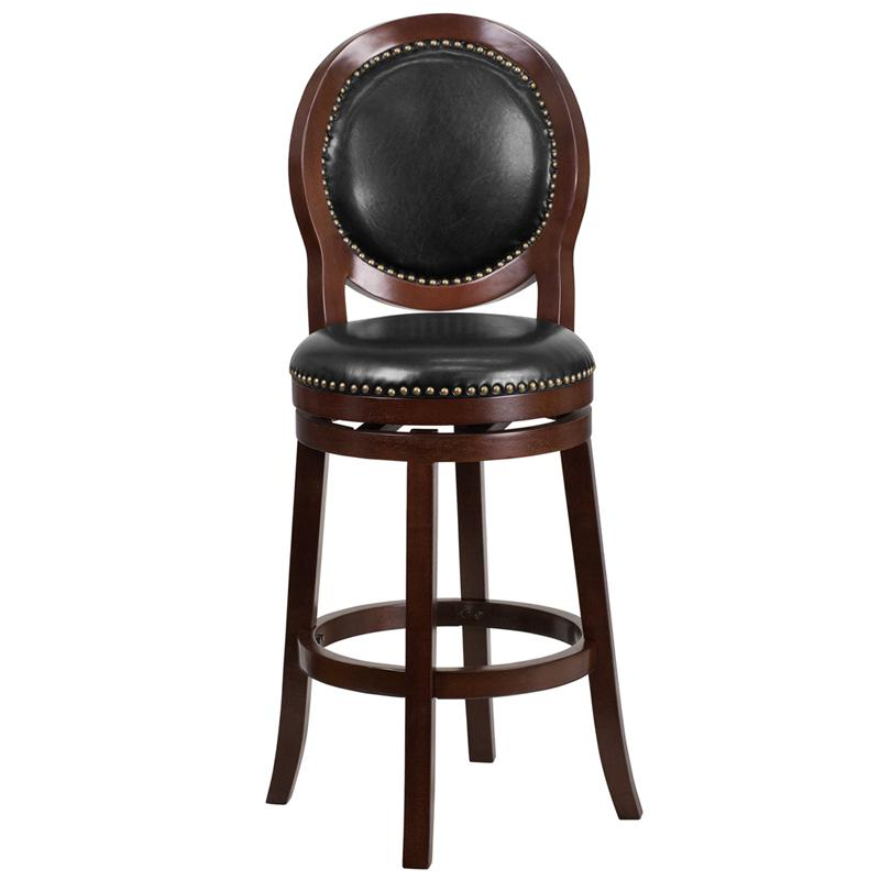 30'' High Cappuccino Wood Barstool with Oval Back and Black LeatherSoft Swivel Seat. Picture 4