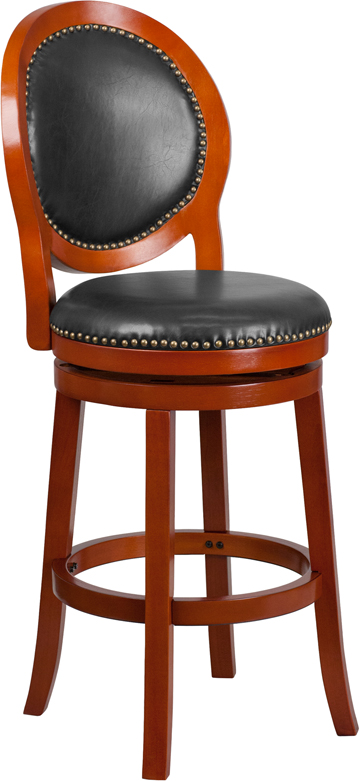 30 High Light Cherry Wood Barstool With Walnut Leather