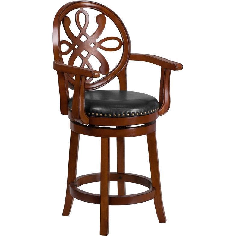 26 High Brandy Wood Counter Height Stool With Arms And