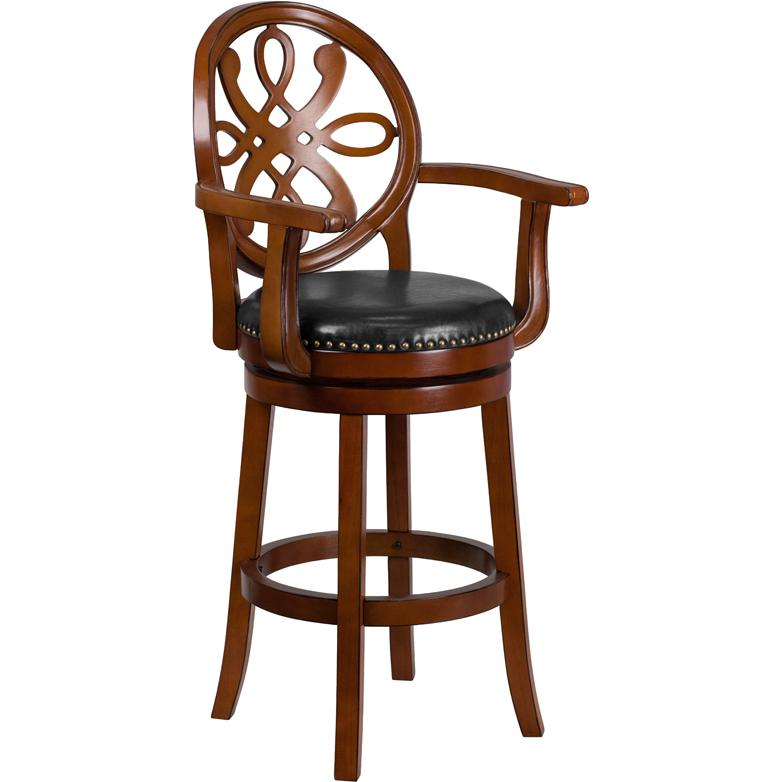30 High Brandy Wood Barstool With Arms And Black Leather