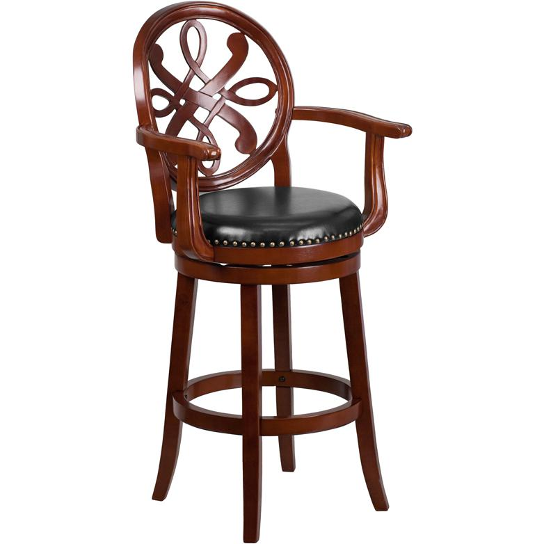 30 High Cherry Wood Barstool With Arms And Black Leather