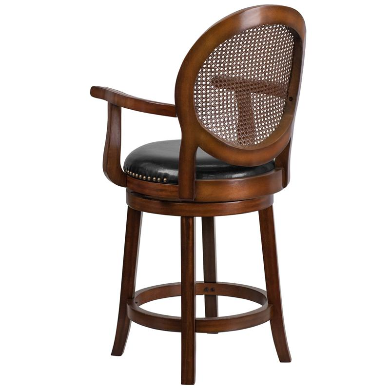 Superb 26High Expresso Wood Counter Height Stool Arms Woven Rattan Back Black Leatherseat Evergreenethics Interior Chair Design Evergreenethicsorg