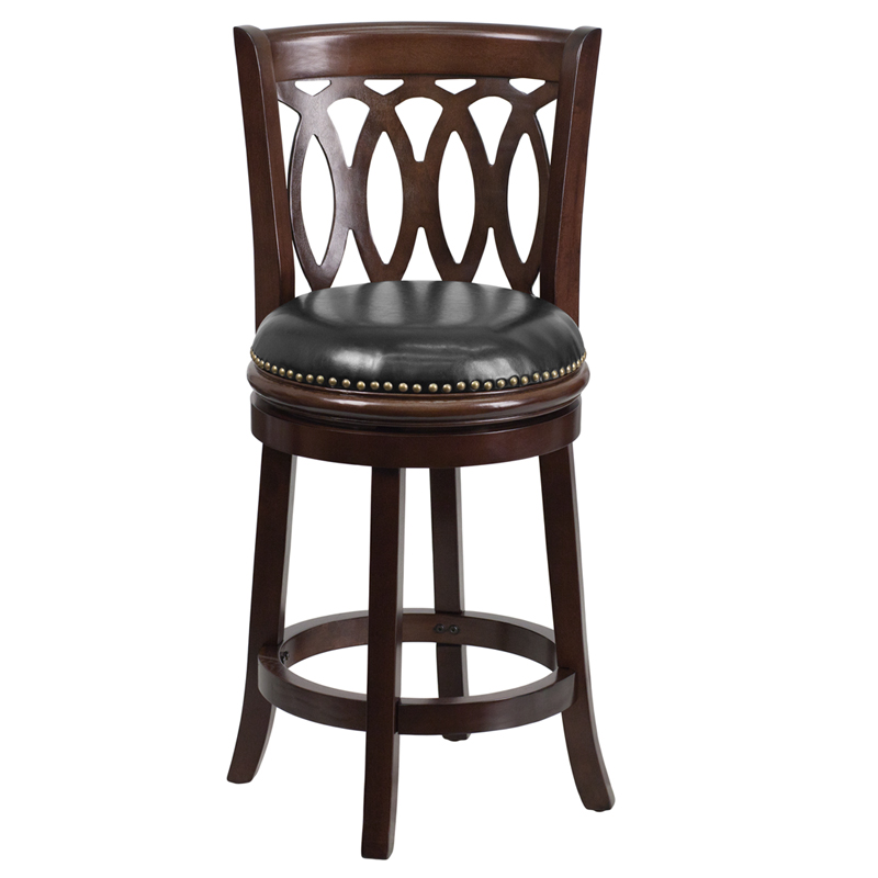 24 Cappuccino Wood Counter Height Stool With Black