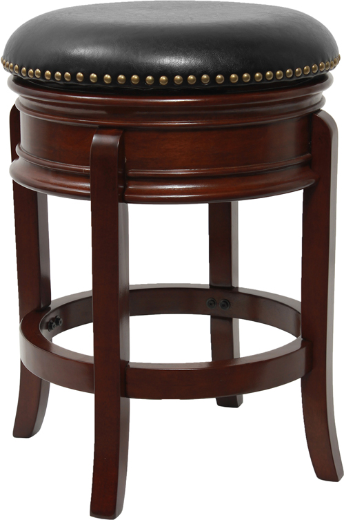 24 39 39 backless cherry wood counter height stool with black leather swivel seat. Black Bedroom Furniture Sets. Home Design Ideas
