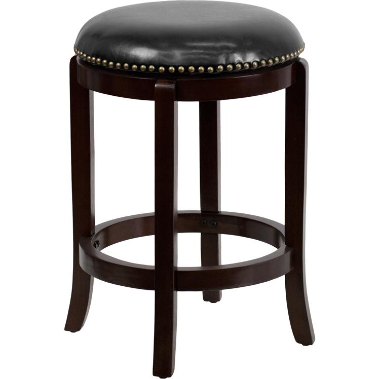24 High Backless Cappuccino Wood Counter Height Stool