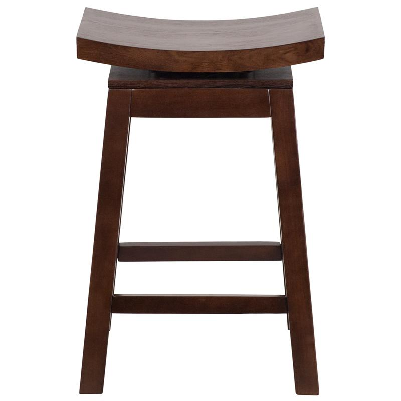 26 High Saddle Seat Cappuccino Wood Counter Height Stool