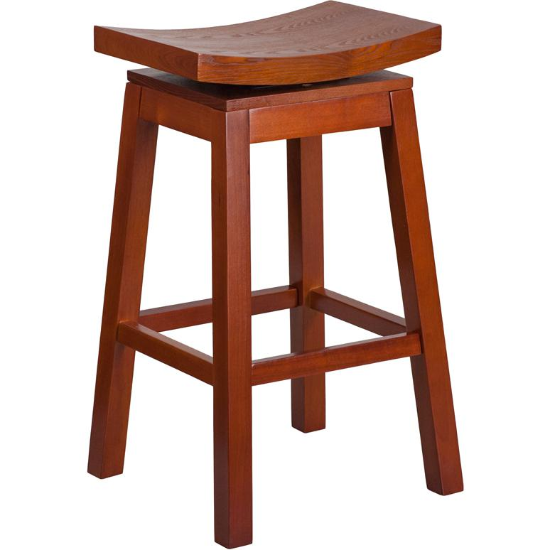 30 High Saddle Seat Light Cherry Wood Barstool With Auto