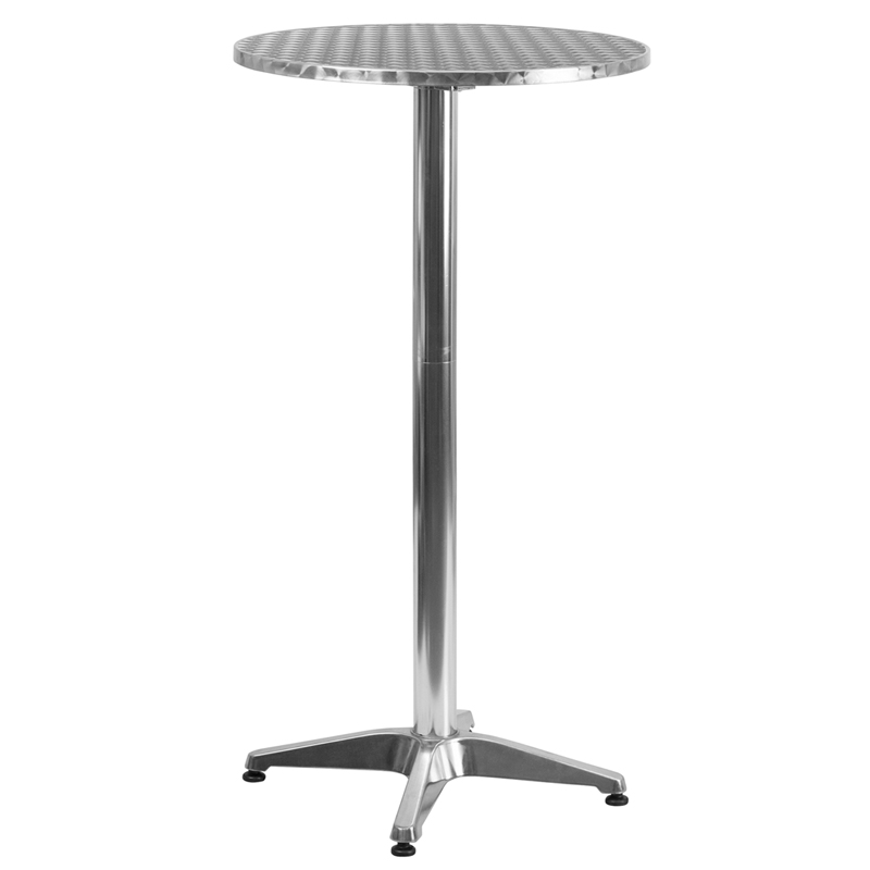 Round Aluminum IndoorOutdoor Folding Bar Height Table With Base - Counter height table inches