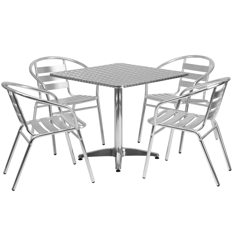 sc 1 st  Bison Office & 31.5u0027u0027 Square Aluminum Indoor-Outdoor Table Set with 4 Slat Back Chairs