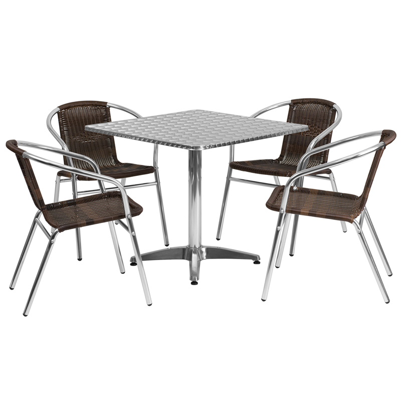 315 Square Aluminum Indoor Outdoor Table Set with 4 Dark Brown