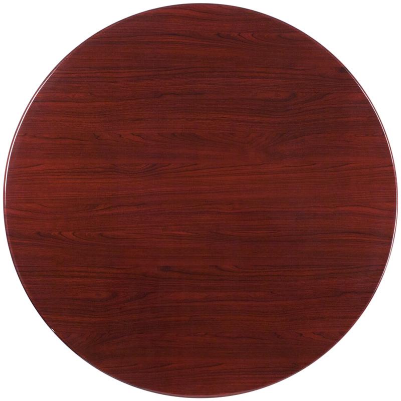 48u0027u0027 Round High Gloss Mahogany Resin Table Top With 2u0027u0027 Thick Drop Lip