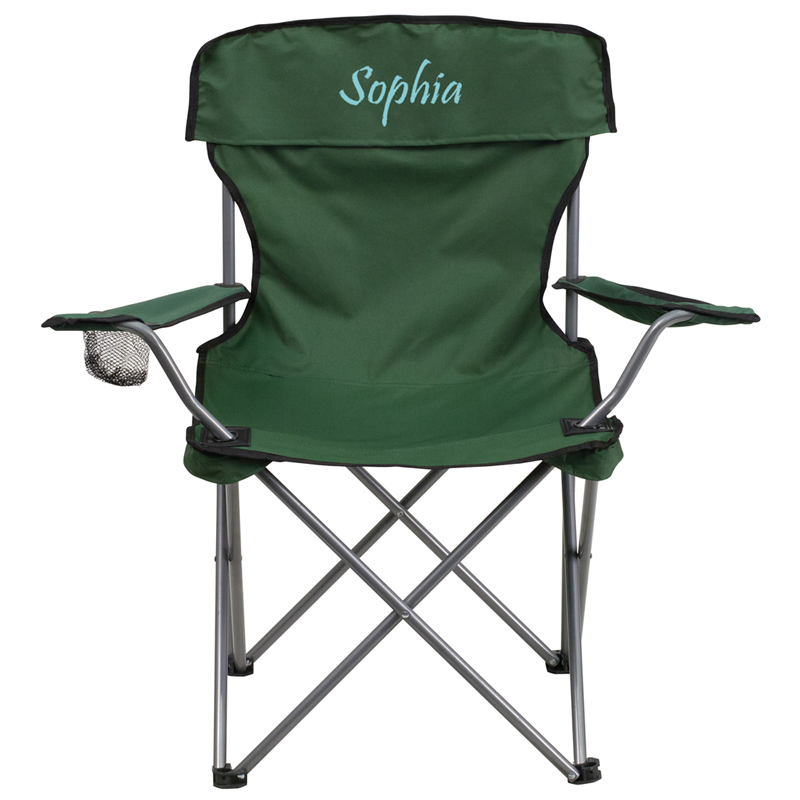 Personalized Folding Camping Chair with Drink Holder in Green