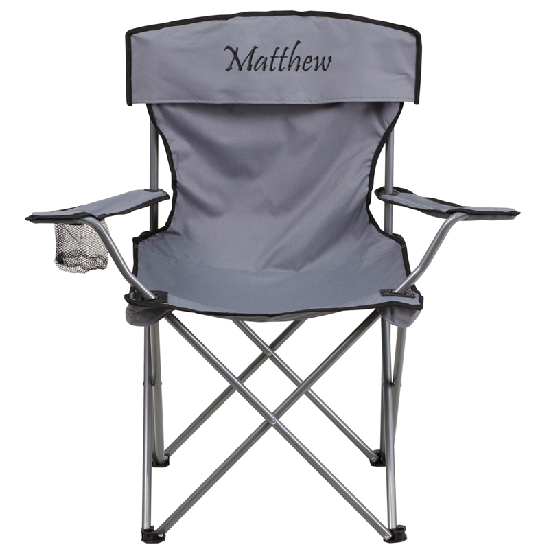 Personalized Folding Camping Chair with Drink Holder in Gray