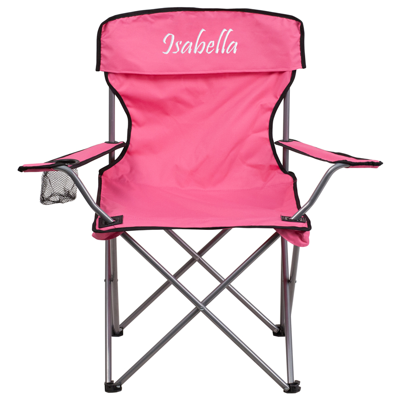 Personalized Folding Camping Chair with Drink Holder in Pink