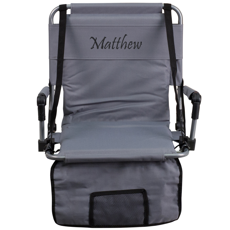 Personalized Folding Stadium Chair in Gray