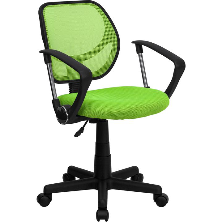 Low Back Green Mesh Swivel Task Office Chair with Arms. Picture 1