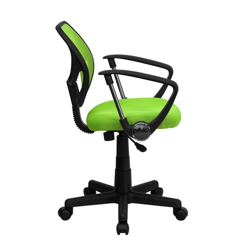 Low Back Green Mesh Swivel Task Office Chair with Arms. Picture 2