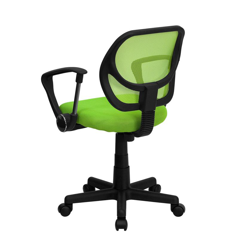 Low Back Green Mesh Swivel Task Office Chair with Arms. Picture 3