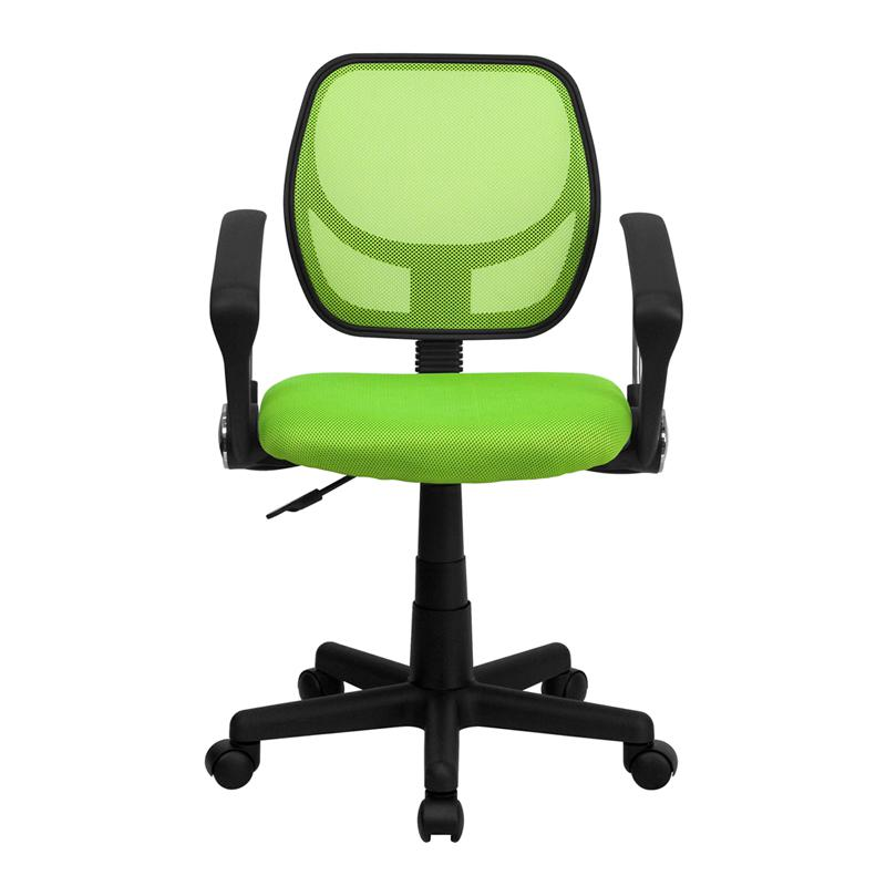 Low Back Green Mesh Swivel Task Office Chair with Arms. Picture 4