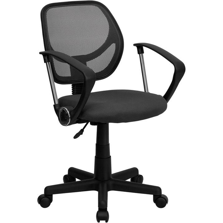 Low Back Gray Mesh Swivel Task Office Chair with Arms. Picture 1