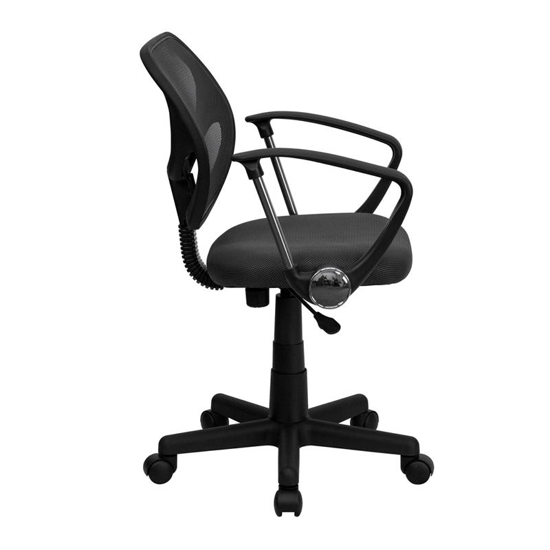 Low Back Gray Mesh Swivel Task Office Chair with Arms. Picture 2