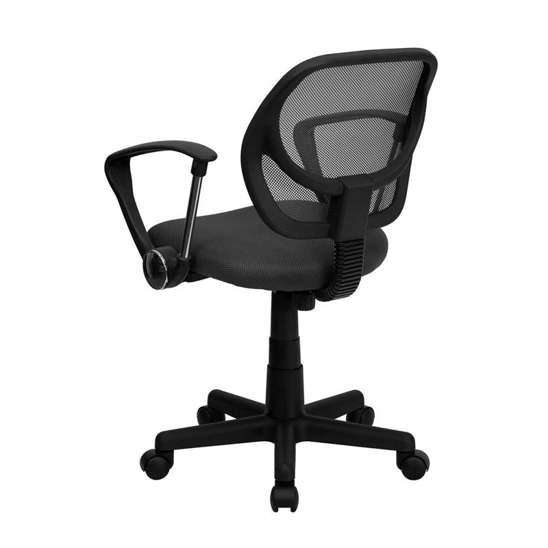 Low Back Gray Mesh Swivel Task Office Chair with Arms. Picture 3