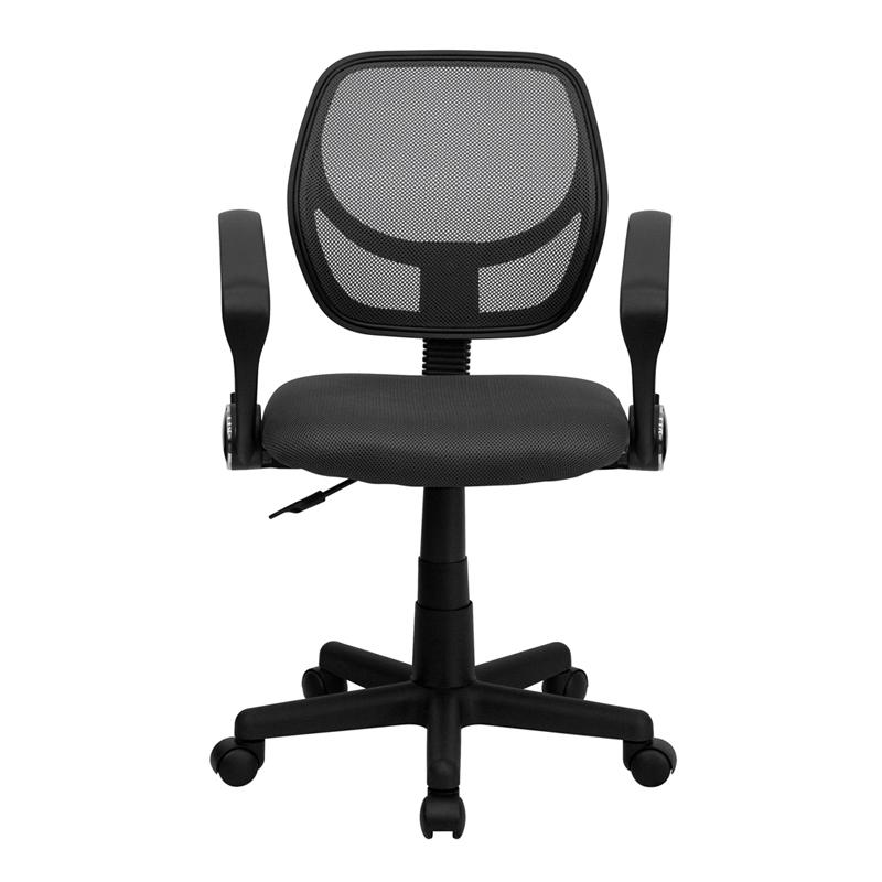 Low Back Gray Mesh Swivel Task Office Chair with Arms. Picture 4