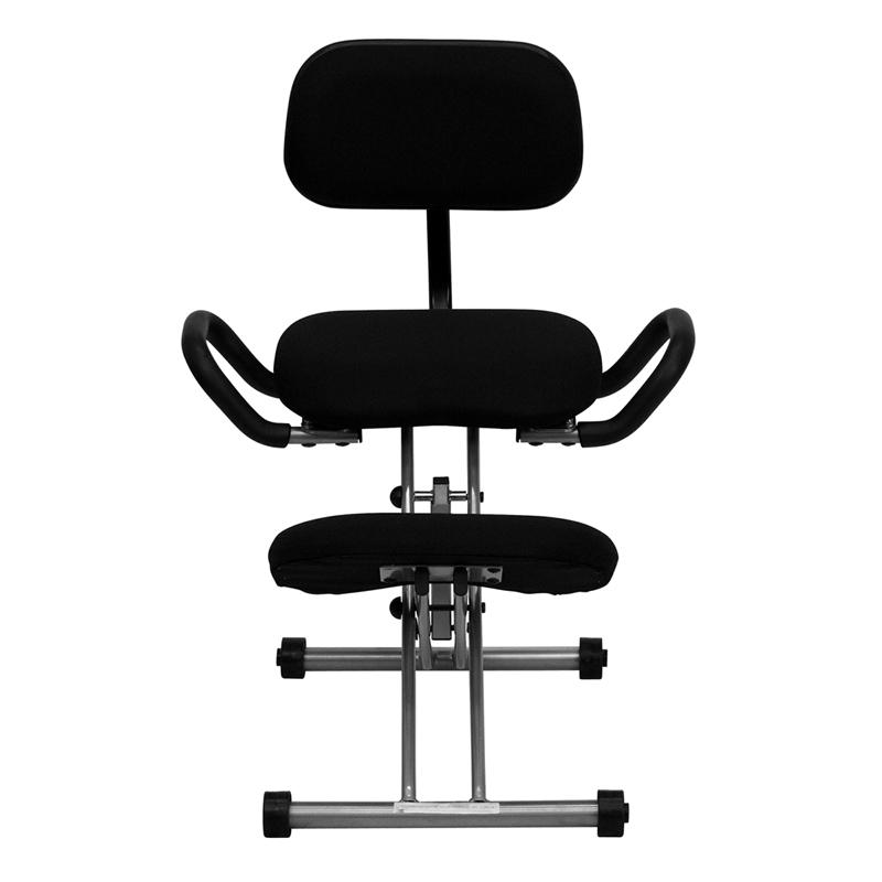 sc 1 st  Bison Office & Ergonomic Kneeling Chair with Back and Handles in Black Fabric