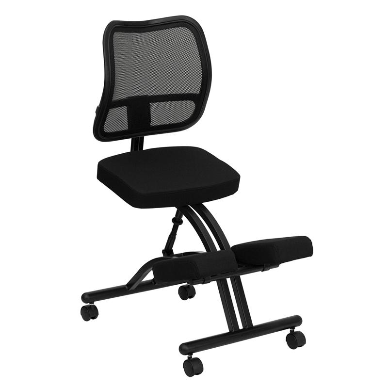Mobile Ergonomic Kneeling Chair With Black Mesh Back