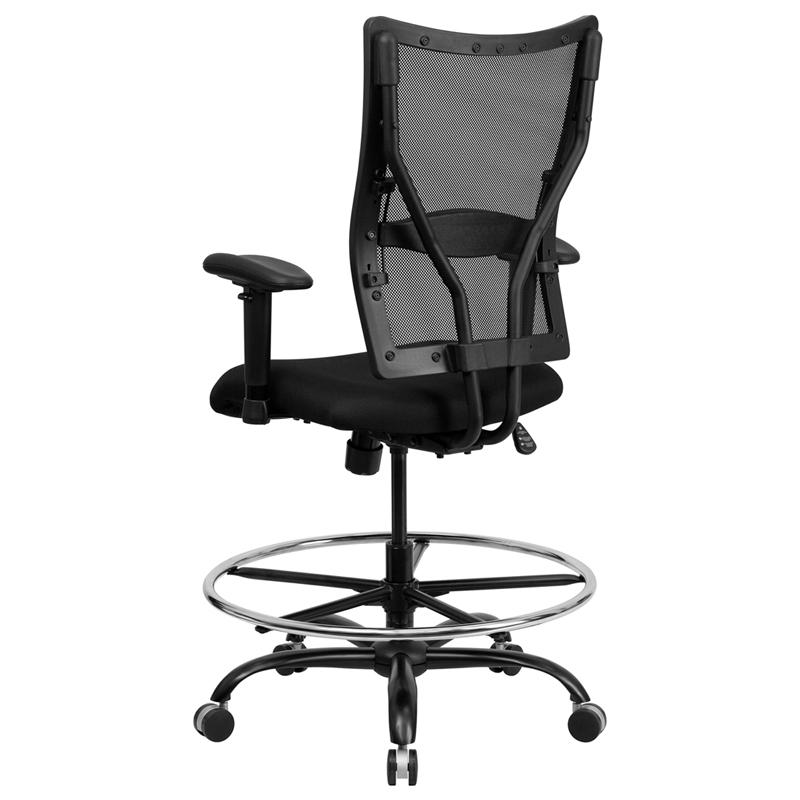 HERCULES Series 400 Lb Capacity Big Tall Black Mesh Drafting Chair Wit