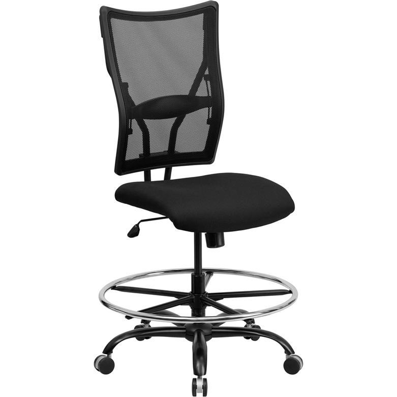 HERCULES Series Big & Tall 400 lb. Rated Black Mesh Ergonomic Drafting Chair. Picture 1