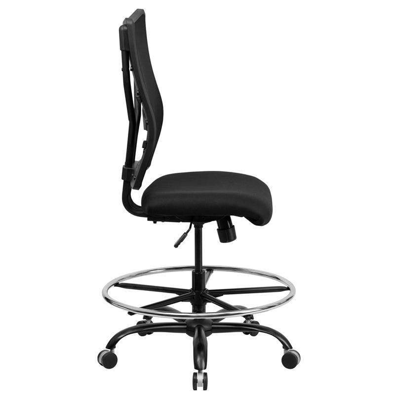 HERCULES Series Big & Tall 400 lb. Rated Black Mesh Ergonomic Drafting Chair. Picture 2
