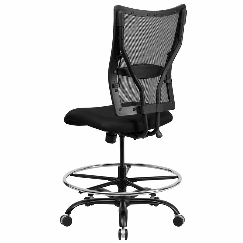 HERCULES Series Big & Tall 400 lb. Rated Black Mesh Ergonomic Drafting Chair. Picture 3