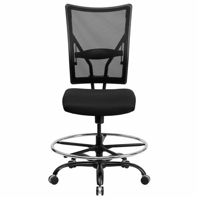 HERCULES Series Big & Tall 400 lb. Rated Black Mesh Ergonomic Drafting Chair. Picture 4
