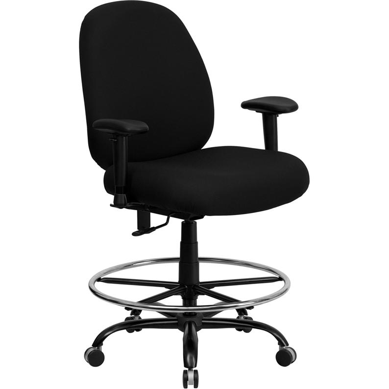 Black Fabric Ergonomic Drafting Chair with Adjustable Back Height and Arms. Picture 1
