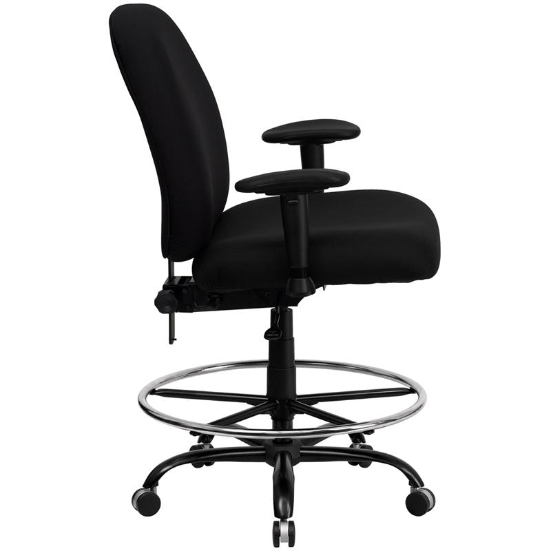 Black Fabric Ergonomic Drafting Chair with Adjustable Back Height and Arms. Picture 2