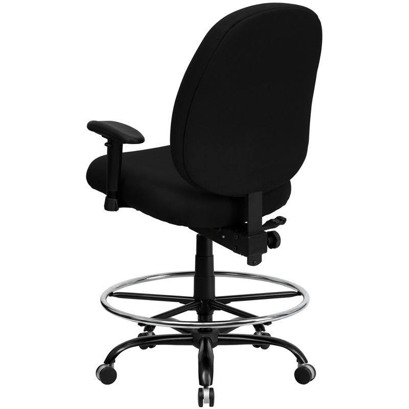 Black Fabric Ergonomic Drafting Chair with Adjustable Back Height and Arms. Picture 3