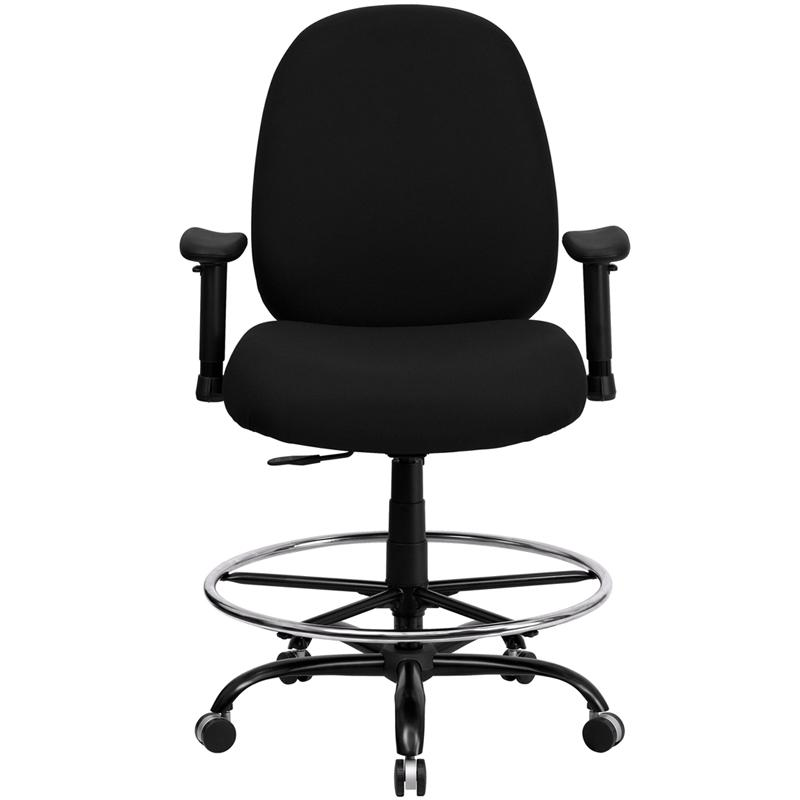 Black Fabric Ergonomic Drafting Chair with Adjustable Back Height and Arms. Picture 4