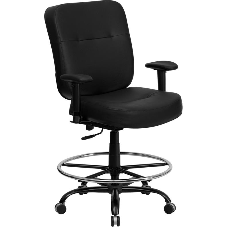Rated Black Leather Drafting Chair With Adjustable Arms