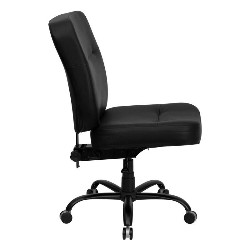 HERCULES Series Big Tall 400 Lb Rated Black Leather Executive Swivel C