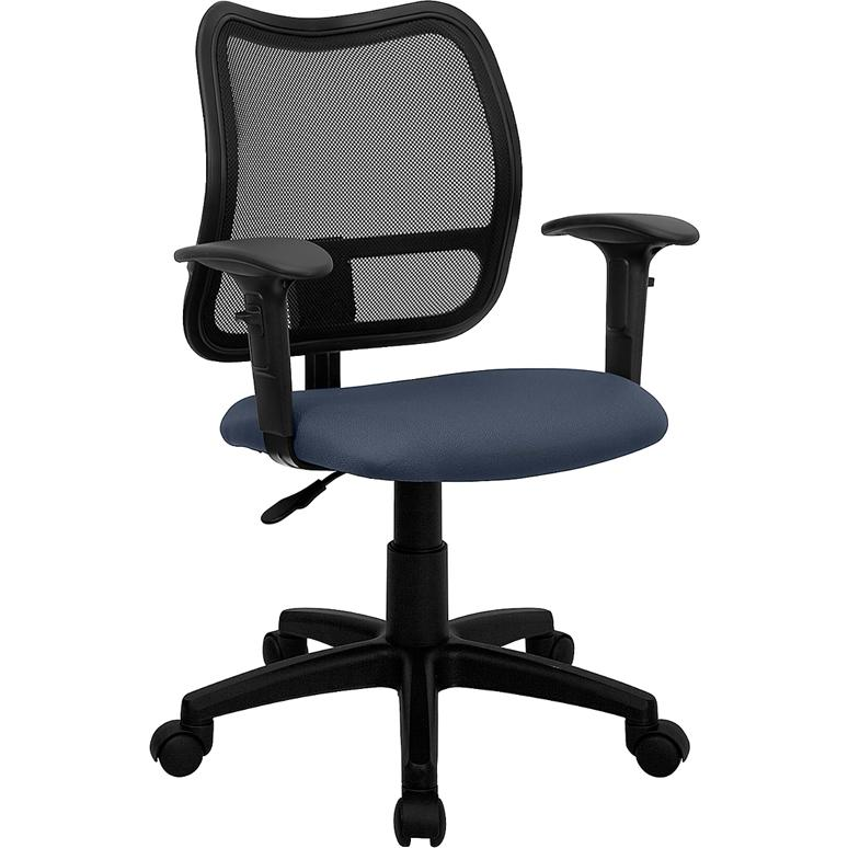 Mid-Back Navy Blue Mesh Swivel Task Office Chair with Adjustable Arms. Picture 1