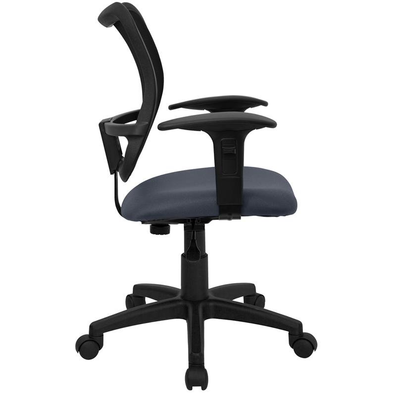 Mid-Back Navy Blue Mesh Swivel Task Office Chair with Adjustable Arms. Picture 2