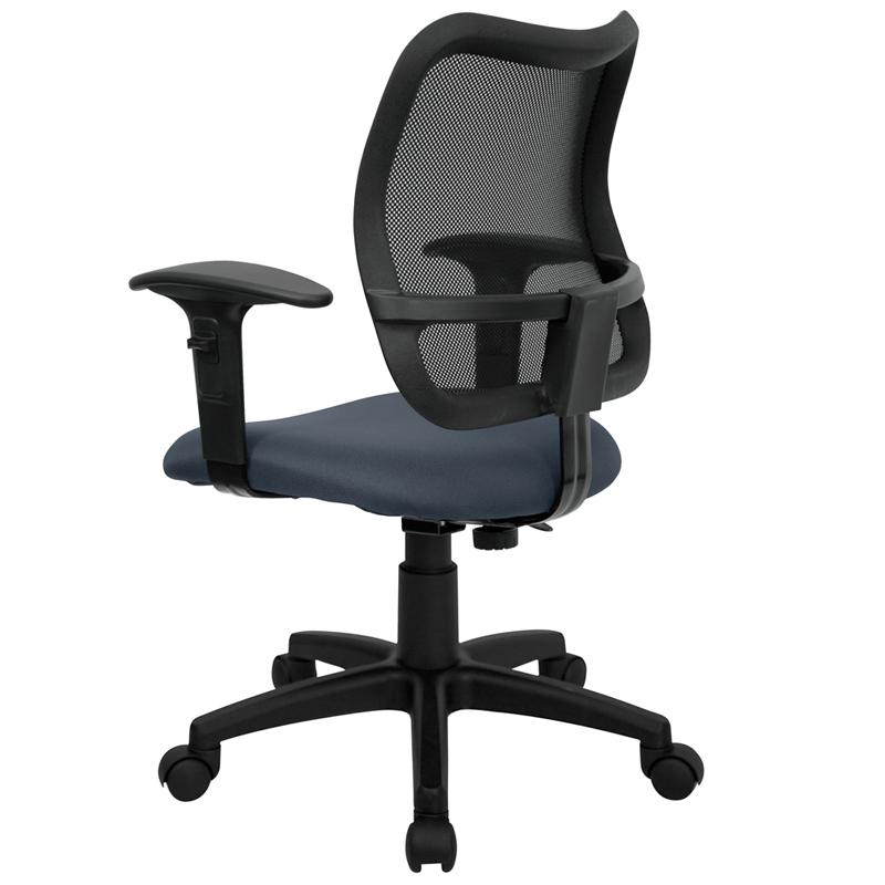 Mid-Back Navy Blue Mesh Swivel Task Office Chair with Adjustable Arms. Picture 3