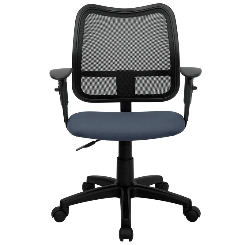 Mid-Back Navy Blue Mesh Swivel Task Office Chair with Adjustable Arms. Picture 4