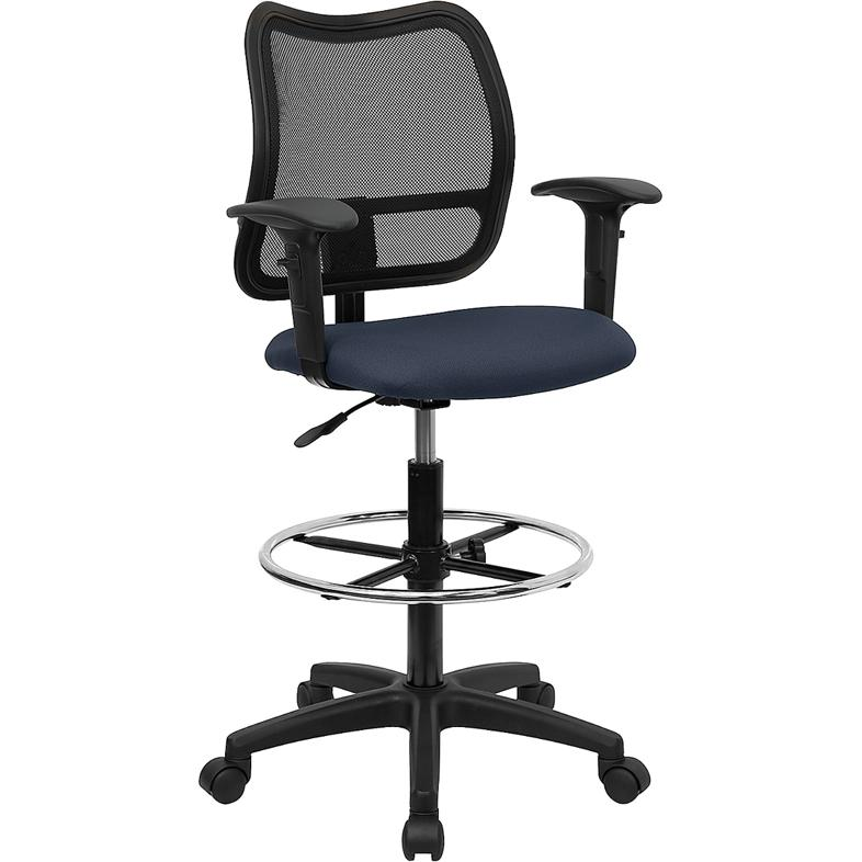 Mid-Back Navy Blue Mesh Drafting Chair with Adjustable Arms. Picture 1